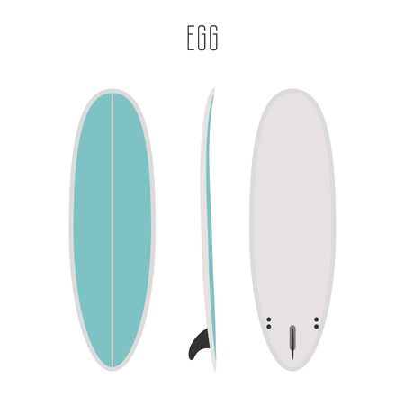 sides: surf egg board with three sides. Blank template. Three projections