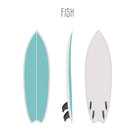 surf fish board with three sides. Blank template. Three projections Ilustração