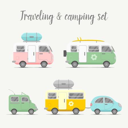 トランスポートのキャラバンおよびトレーラーのセットです。モバイル ホーム型イラスト。旅行者トラック フラット アイコン。家族旅行トラック