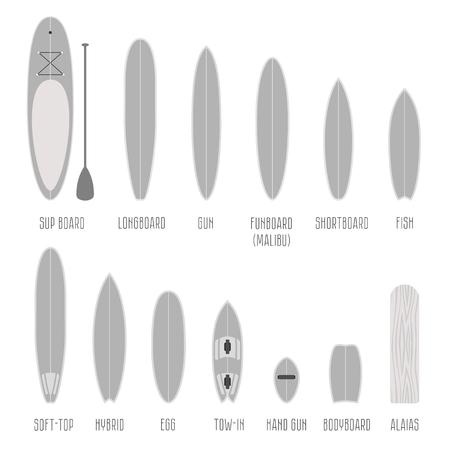 Ensemble de types de planches de surf, des formes de volume à l'échelle. Différentes silhouettes isolées Infographies
