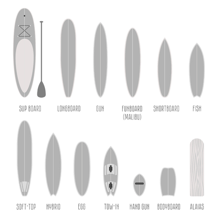 long and short scales: Set of surfboard types, volume shapes in scale. Different silhouettes isolated Infographics