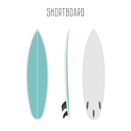 surf short board with three sides. Blank template. Three projections Vectores