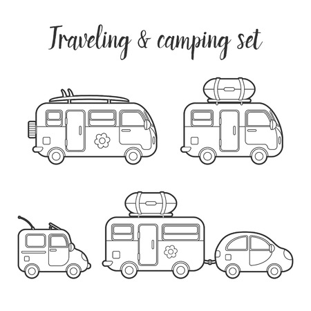 mobile home: transport caravan and trailer isolated icon set. Mobile home types illustration. Traveler truck icon. Family traveler truck summer trip concept. Illustration