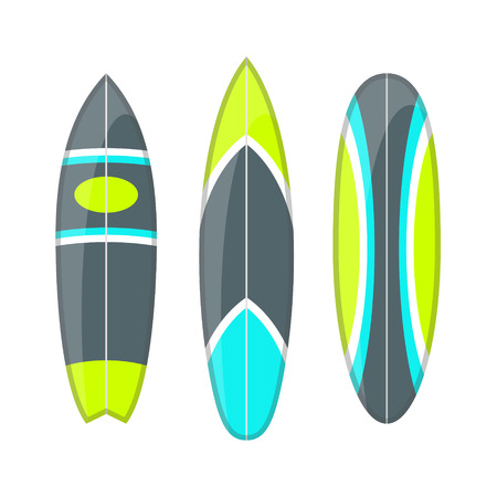 short wave: set of decorated colorful surfboards. Different shapes and types isolated on white background. Surfboard prints design collection.
