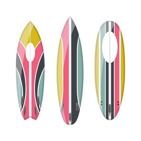 set of decorated colorful surfboards. Different shapes and types isolated on white background. Surfboard prints design collection.