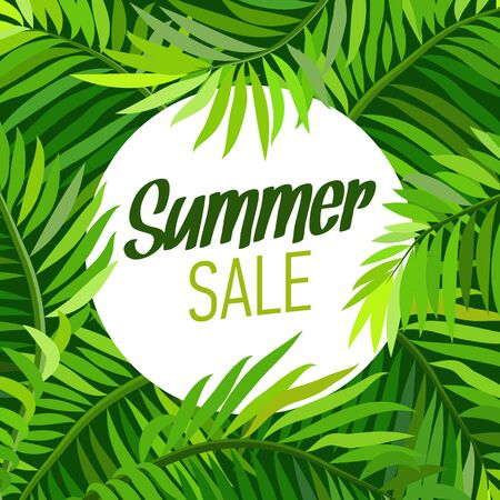 palm trees: Summer party poster with palm leaf and lettering. Summer sale.