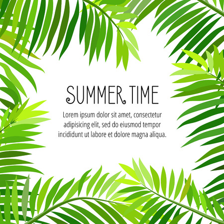 summer time: Summer party poster with palm leaf and lettering. Summer time.