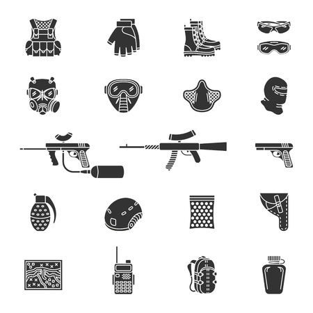 airsoft: set of black flat silhouette icons for paintball and airsoft equipment and outfit. Collection isolated on white background Illustration