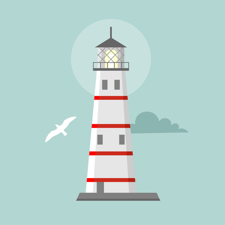 navigational: Cartoon landscape. Searchlight towers for maritime navigational guidance Illustration