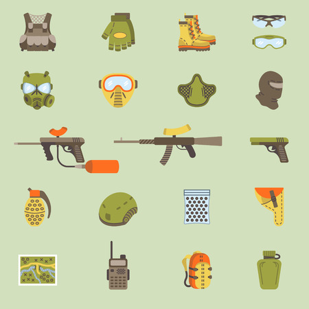 ammunition: set of black flat flat icons for paintball and airsoft equipment and outfit