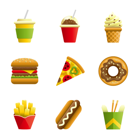 Fast food vector cartoon icon set. Fast food hamburger, cola, ice cream, pizza, donut, hot dog, noodles, french fries. Tasty fast food unhealthy meal. Isolated dishes on white background.