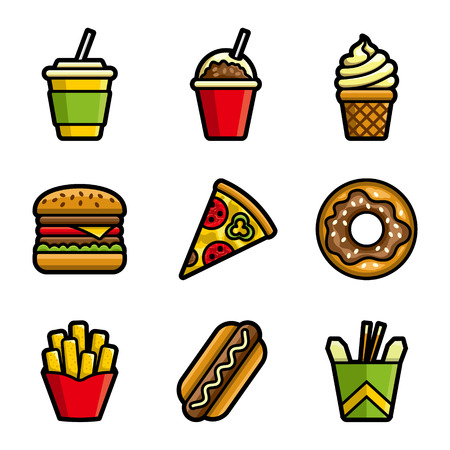 fast meal: Fast food vector colored icon set. Fast food hamburger, cola, ice cream, pizza, donut, hot dog, noodles, french fries. Tasty fast food unhealthy meal. Isolated dishes on white background.