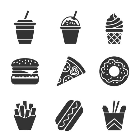 Fast food vector silhouette icon set. Fast food hamburger, cola, ice cream, pizza, donut, hot dog, noodles, french fries. Tasty fast food unhealthy meal. Isolated dishes on white background.