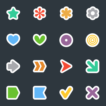 Simple common vector stickers icon set on dark background. Flat style labels collection. Good for scrapbooking, diary, creativity use.