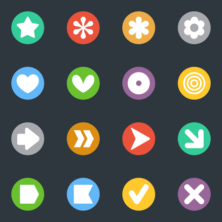 common goal: Simple common vector stickers icon in the circle set. Labels collection. Good for scrapbooking, diary, creativity use.