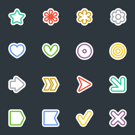 Simple common vector stickers icon set. Contour style labels collection. Good for scrapbooking, diary, creativity use. Illustration