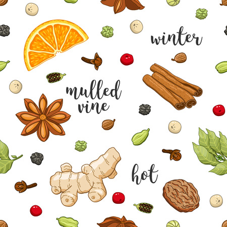 cloves: seamless pattern on white background with glass of mulled wine, orange, cinnamon, cardamom, anise star, cloves, pepper, ginger, coriander and nut. Winter christmas colored illustration.