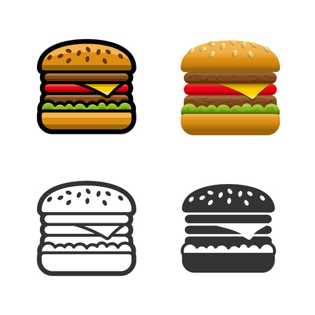 fast meal: Burger cartoon, colored, contour and silhouette styles icon set. Tasty fast food unhealthy meal. Isolated dishes on white background.