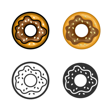 fast meal: Donut cartoon, colored, contour and silhouette styles icon set. Tasty fast food unhealthy meal. Isolated dishes on white background.