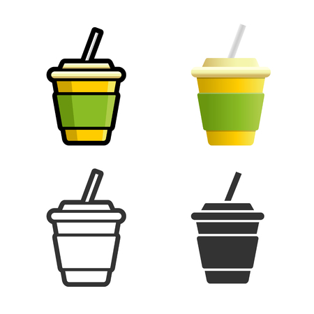 softdrink: Cola carbonated soft drink cartoon, colored, contour and silhouette styles icon set. Tasty fast food unhealthy drink. Isolated dishes on white background.