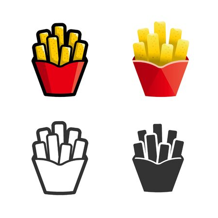 fast meal: French fries cartoon, colored, contour and silhouette styles icon set. Tasty fast food unhealthy meal. Isolated dishes on white background.