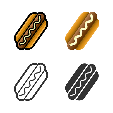 fast meal: Hot dog cartoon, colored, contour and silhouette styles icon set. Tasty fast food unhealthy meal. Isolated dishes on white background.