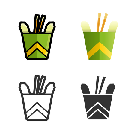 fast meal: Noodles in a box cartoon, colored, contour and silhouette styles icon set. Tasty wok fried fast food unhealthy meal. Isolated dishes on white background.