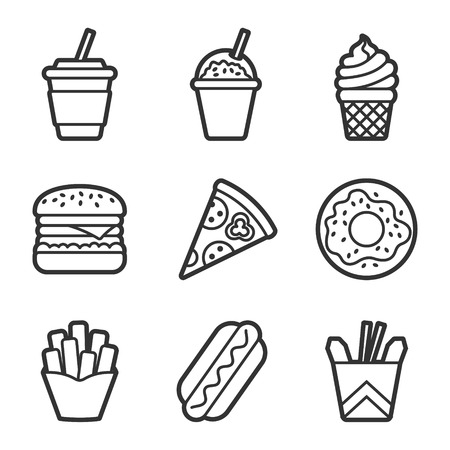 fried noodles: Fast food vector contour icon set. Fast food hamburger, cola, ice cream, pizza, donut, hot dog, noodles, french fries. Tasty fast food unhealthy meal. Isolated dishes on white background.