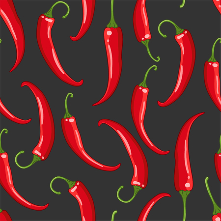 Vector seamless pattern on dark background with chilli peppers. Hot spice colored illustration.