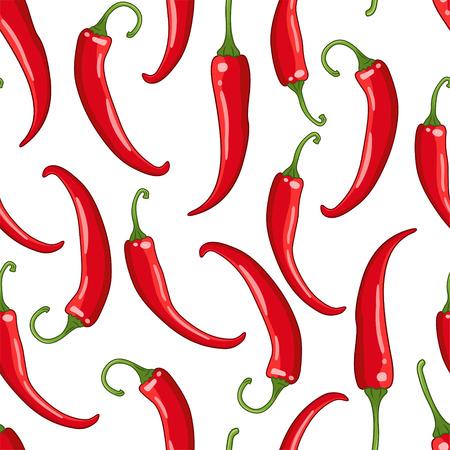 Vector naadloos patroon op witte achtergrond met Spaanse peperspeper. Hete specerij gekleurde illustratie.