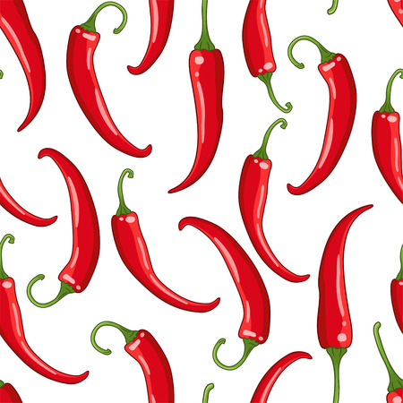 Vector seamless pattern on white background with chilli peppers. Hot spice colored illustration.