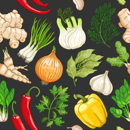 tarragon: Vector vegetable seamless pattern with spices and herbs. Decorative colorful composition on dark background