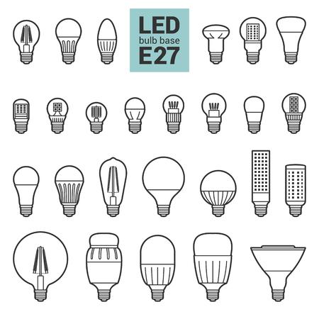 LED light bulbs with E27 base, vector outline icon set on white background Иллюстрация