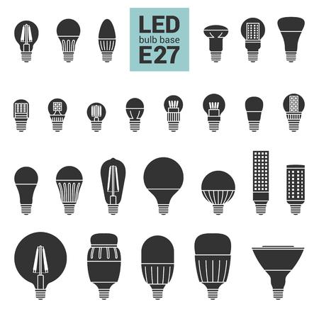 LED 電球 E27 ベース、ベクトル シルエット アイコン背景白に設定で