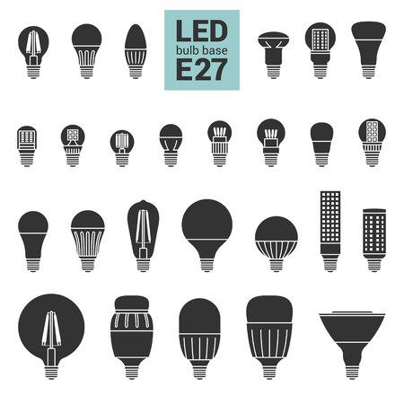 e27: LED light bulbs with E27 base, vector silhouette icon set on white background
