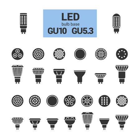 LED gloeilampen met GU10 en GU5.3 basis, vector silhouet icoon op een witte achtergrond