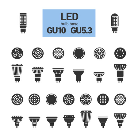 LED light bulbs with GU10 and GU5.3 base, vector silhouette icon set on white background