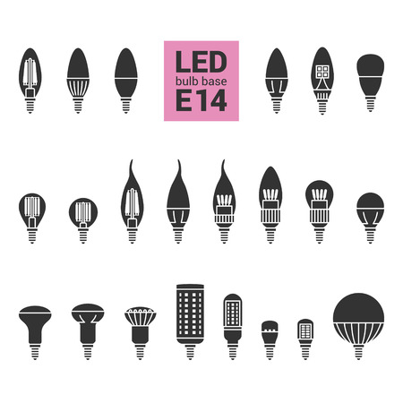 LED light bulbs with E14 base, vector silhouette icon set on white background