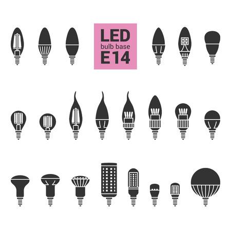 LED-lampen met E14 base, vector silhouet pictogram ingesteld op witte achtergrond