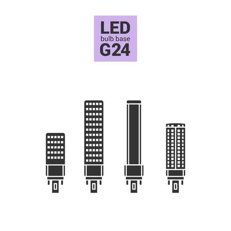 energysaving: LED light bulbs with G24 base, vector silhouette icon set on white background Illustration