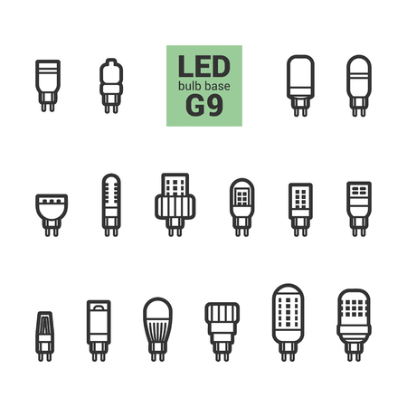 LED light bulbs with G9 base, vector outline icon set on white background