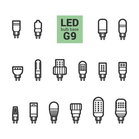 energysaving: LED light bulbs with G9 base, vector outline icon set on white background Illustration