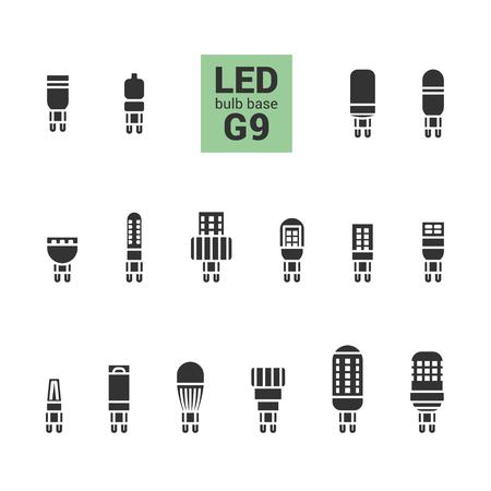 energysaving: LED light bulbs with G9 base, vector silhouette icon set on white background Illustration