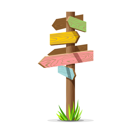 information point: Colored wooden arrow empty signboard. Wood sign post concept with grass. Board pointer illustration isolated on a white background. Illustration
