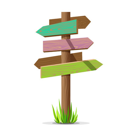 Colored wooden arrow empty vector signboard. Wood sign post concept with grass. Board pointer illustration isolated on a white background.