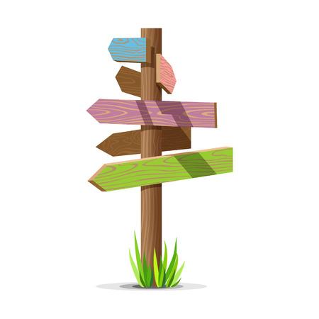 Farbige hölzerne Pfeil leere Vektor Schild. Holz Zeichen Post Konzept mit Gras. Board Zeiger Illustration isoliert auf weißem Hintergrund.