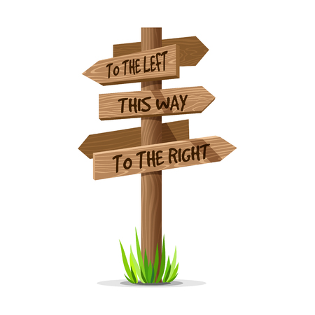 Wooden arrow vector direction signboard. Wood sign post concept with grass. Board pointer illustration with text isolated on a white background. Illustration