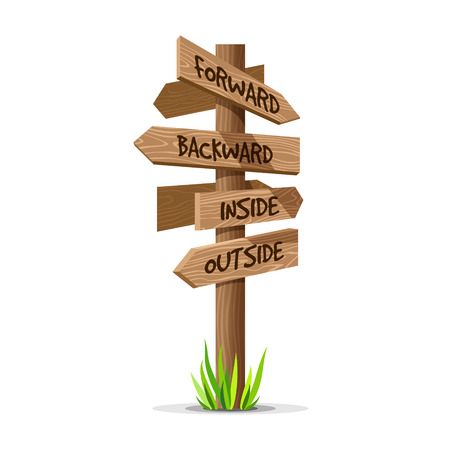 wooden post: Wooden arrow vector direction signboard. Wood sign post concept with grass. Board pointer illustration with text isolated on a white background. Illustration