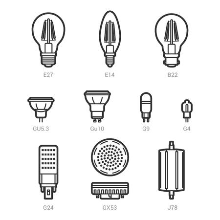 lamp vector: LED light lamp bulbs vector outline icon set on white background