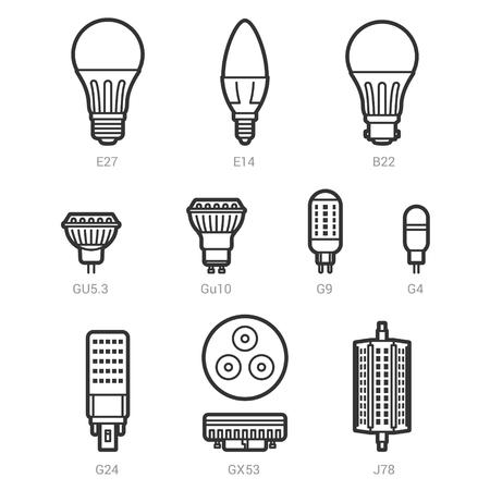 e27: LED light lamp bulbs vector outline icon set on white background